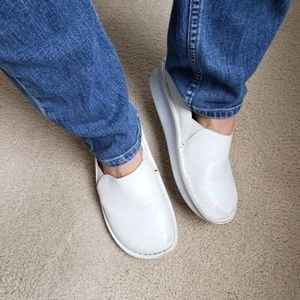 Alegria 38 White Leather Clogs Shoes Loafers